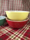 VINTAGE PYREX PRIMARY COLOR LARGE YELLOW PRIMITIVE MIXING BOWLS FARMHOUSE