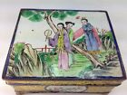 Antique Chinese Enamel Famille Garden Scene Hinged Footed Box