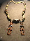 Vintage hand carved wooden necklace with Beads,metal ornaments with Ancient gods