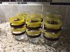 5 Mid Century Yellow  Brown Striped Tumblers Cocktail Glasses Glass
