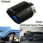 76MM IN 114MM OUT Carbon Fiber Car Exhaust Muffler Pipe Tips Durable Burn Blue