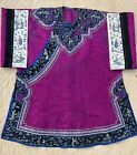 Antique Chinese Purple Silk Robe Figural Embroidery Bird Brocade Qing Exquisite
