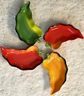 Clay Art Ceramic Chili Pepper Shaped Salsa Serving Dish 9 Long Set of 4 Party