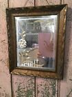 Adorable Antique Etched Beveled Mirror Floral Design Shabby Garden Style #N