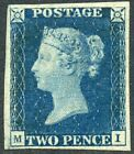 Superb and RARE 1840 2d blue plate 2 lettered MI MH SG 5