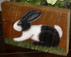 *~*PRIMITIVE*~* HP FOLK ART PRIM BLACK AND WHITE BUNNY  *~*  OLD RECLAIMED WOOD