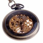 Skeleton Pocket Watch Mechanical Hand Winding and Chain Steampunk Cosplay Reloj