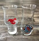 2 red LOBSTER HURRICANE DRINKING GLASSES - vintage barware