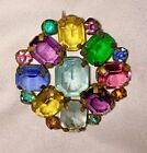 Colorful Rhinestone Color Faceted Glass VTG Open Back Setting Copper Brooch