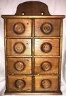 Antique Spice Box Cabinet 8 drawer Wood Original Patina American Farmhouse