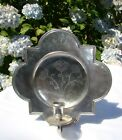 Antique Pewter Wall Sconce Candle Holder Etain 95% Hallmarks on Front and Back