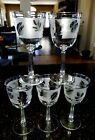LIBBEY SILVER LEAF WATER GOBLETS VINTAGE MINTY SET OF 5