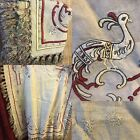 Tatty Shabby Chic French Worn Linen Embroidered Panel Tassels For Project Props