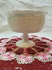 Vintage Pressed Milk Glass Pedestal Bowl