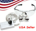 Dental Surgical Binocular Loupes 2.53.5x 420mm Optical Glass Led Lightcaseus