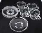 Vintage Hobnob Clear Glass Cup and Saucers Set of 4