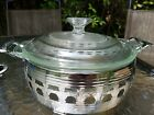Vintage Fire King Glass Casserole Dish With Lid and silver Metal Serving base