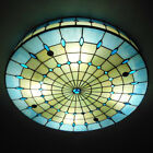 3 light Tiffany Style Flush Mount Ceiling Light Stained Glass Shade Ceiling Lamp