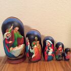 Russian Nesting Dolls Nativity CHRISTMAS 5 pcs Beautiful Nice Christmas Gift