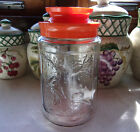 VTG Anchor Hocking Tang Orange Drink Glass Jar GLASS CANISTER Fall AUTUMN w/ Lid