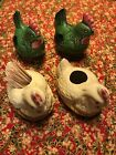 Vintage Japanese Hen And Rooster Salt  Pepper And Toothpick Holders