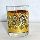 Culver Green and Gold 22K Valencia MCM Lowball Glass