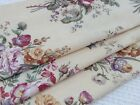 Antique French floral printed cotton fabric lovely pale yellow background
