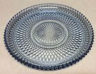 Vintage Indiana Light Blue Crystal Diamond Cut Round Glass Platter Cake Plate