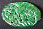 Vintage CHINESE Carved GREEN NEPHRITE JADE Oval Cabochon Loose Pin Pendant