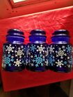 Libbey Cobalt Blue Glass Canisters Set of 3 Snowflake Pattern Christmas Jars Lid