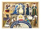 Melissa Doug Classic Wooden Christmas Nativity Set With 4Piece Stable and 11