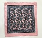 Vintage Men's Mod Pink Paisley Pocket Square  12x12 inches 100% Silk Hand Rolled