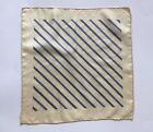 Vintage Men's Tan / Blue Pocket Square  12x12 inches 100% Silk Hand Rolled Edge