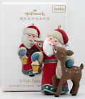 2010 A VISIT FROM SANTA NEW Hallmark Santa Claus Lamp Spotted Deer Ornament NICE