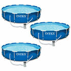 Intex 12 x 30 Metal Frame Set Above Ground Swimming Pool with Filter 3 Pack