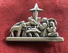 RARE RETIRED James Avery 925 Silver Nativity Manger Pin Brooch Pendant