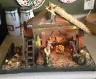 Vintage Nativity Scene Italy 16 Pieces with Lighted Wood Manger