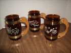 3 Siesta Ware Brown Barrel Glass Mugs Western Motif  Great Shape