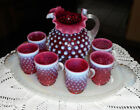 FENTON ART GLASS CRANBERRY MINI PITCHER CUPS AND TRAY DORIS LECHLER 1980s