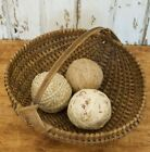 set of 3 rag balls, made from early brown calico and homespun
