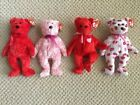 Ty Beanie Baby Valentine Collection Lot of 4 - Sizzle, Smitten, Kiss-e and Kissy