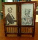 Antique Wooden Dance Card as Folding Screen with Color Portraits Dated 1902