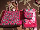 Vera Bradley Clearly Colorful Tote Towel Cosmetic in Pink Swirls Flower Set