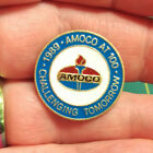 Amoco Pin - 1989 Amoco at 100 Challenging Tomorrow round hat scarf lapel tie tac