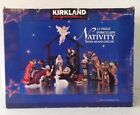 Kirkland 13 Piece Hand Painted Porcelain Nativity Set W Wood Creche In Box EUC