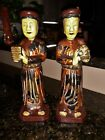 (2) CARVED PAINTED WOOD CHINESE FIGURE STATUE ANTIQUE VINTAGE 8 1/2