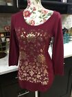 Lucky Brand Womens Cranberry Gold Foil Floral Printed Long Sleeve Top Small NWT