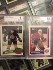 Patrick Roy, Ray Bourque Rookies , Beckett Graded,  Roy 8.5, Bourque 5