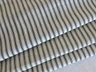 French vintage black and off white striped mattress ticking fabric  56