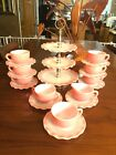 Vintage Hazel Atlas Pink Crinoline Ripple. Including 3 Tier Serving Tray 19 Pcs.